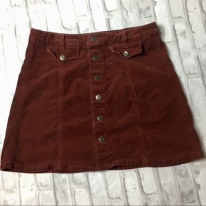 Mossimo Supply Co. Corduroy Red Button Down Skirt